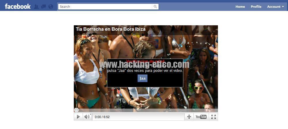 Captura del vídeo falso