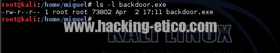 Backdoor creado con Metasploit
