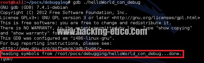 GDB con símbolos de depuración