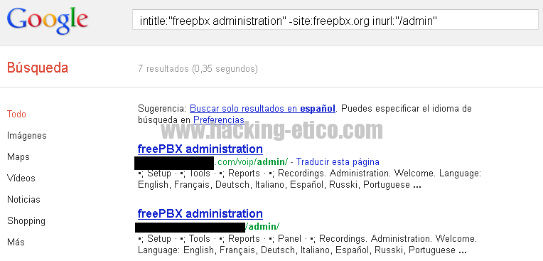 Search Engine Hacking Ético - FreePBX Search 2