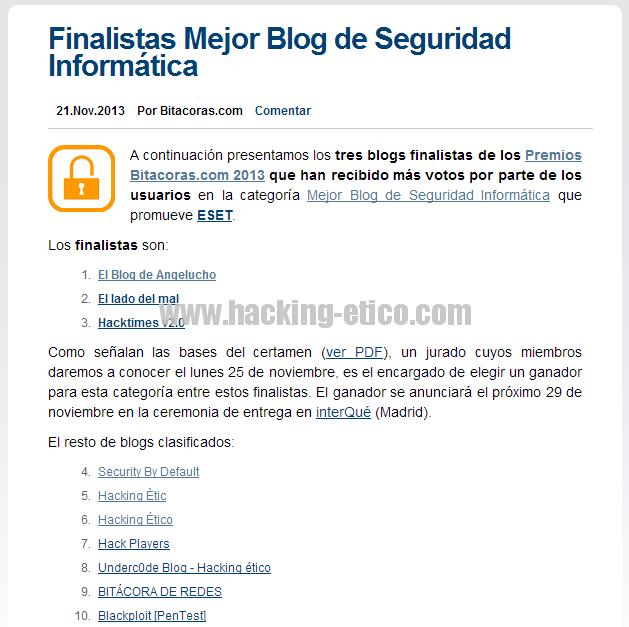 Finalistas Premios Bitácoras 2013
